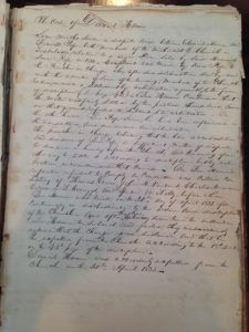 This is a phot of a hand-written archival resource examined by on of the Publich History Initiative students.