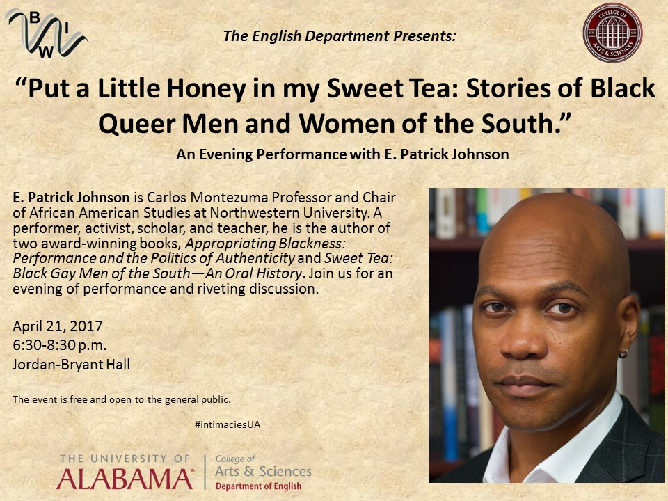This image shows a poster advertising the performance by Professor E. Patrick Johnson.
