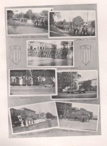 This image is a photo collage of various activities related to war preparation around town.