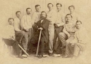 This image is a Cartes de Visite showing the 1865 Brooklyn Dodgers baseball team. It's not held in the Williams collection, but since all of their images had watermarks, this is what we had to use.