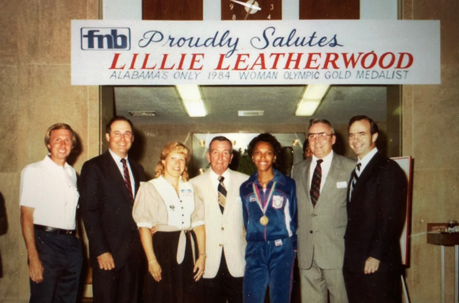 UA president Joab Thomas with olympic gold medalist Lillie Leatherwood