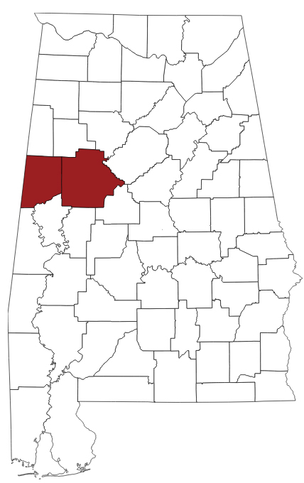 This image is a map of Alabama Counties