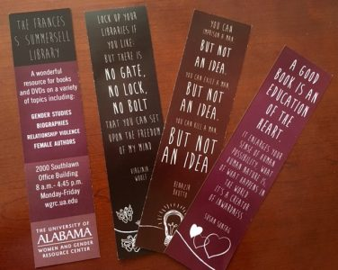 Image shows bookmarks that the library hands out.