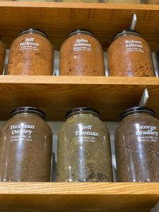 Jars of soil from Alabama lynching sites on display at the EJI in Montgomery.