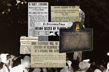 image showing news reports of lynchings.